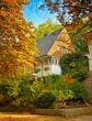 Nice autumnal scene with house