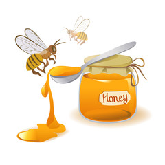 spoon of honey and bees on a white background
