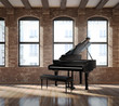 Vintage romantic loft interior, with a black piano - 56238709