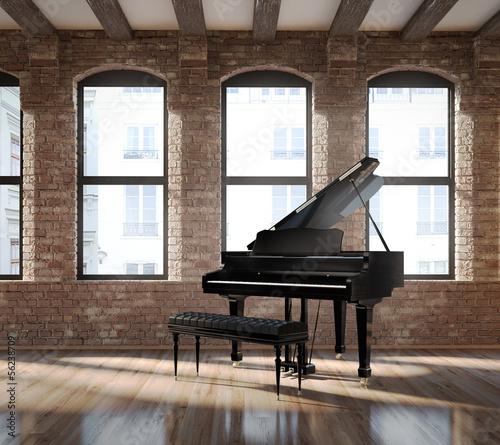 Leinwanddruck Bild Vintage romantic loft interior, with a black piano