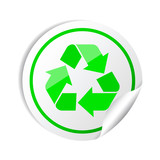 Vector illustration of sticker recycle symbol