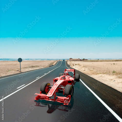Racing car on the road
