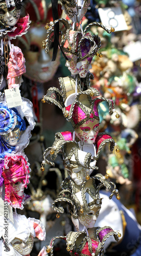 beautiful original Venetian masks handmade in a stand in piazza