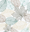 Sketch style leaves seamless pattern background. EPS10 file.