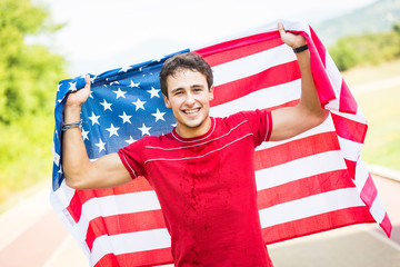American Athlete with National Flag