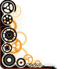 Mechanical cog wheel frame.
