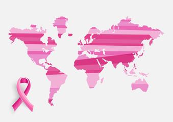 Global Breast cancer awareness concept illustration EPS10 file.