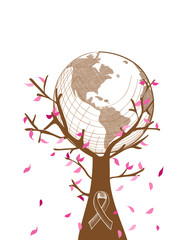 Global Breast cancer awareness concept tree illustration EPS10 f