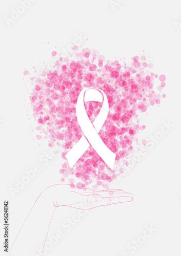 Breast cancer awareness human hand ribbon illustration EPS10 fil