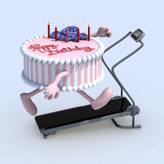 cake with arms and legs on running machine