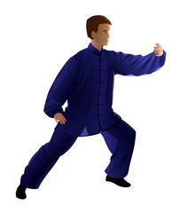 Young man performing Tai Chi, isolated
