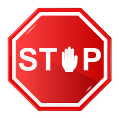 Vector illustration of Stop sign wit stop hand