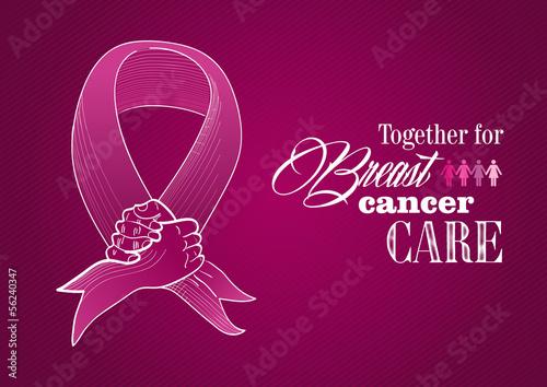 Global Breast cancer awareness human hands ribbon symbol EPS10 f