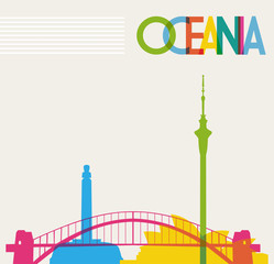 Diversity monuments of Oceania, famous landmarks colors transpar
