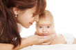 mother helping newborn baby, kid care