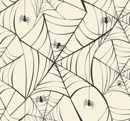 Happy Halloween spider webs seamless pattern background EPS10 fi