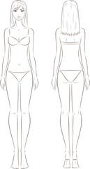 Vector fashion illustration of female fashion figure. Silhouette