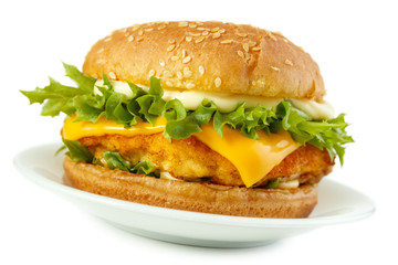 Fish burger with mayonnaise on dish