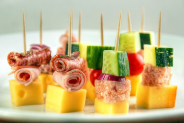 Different cocktail stick snacks