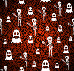 Happy Halloween elements seamless pattern background EPS10 file.