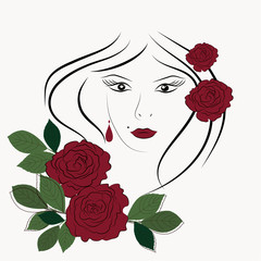 Beautiful woman face and red roses