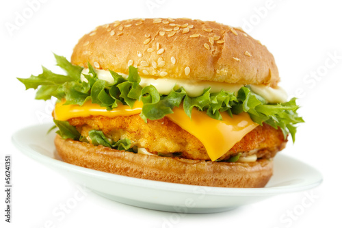 Fototapeta Fish burger with mayonnaise on dish