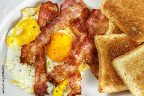 Breakfast with Fried egg and crispy bacon