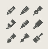Pens and brushes for drawing. Set of simple icons. Vector