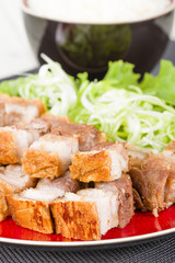 Siu Yuk - Chinese crispy roast pork belly and steamed rice.