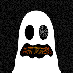 Happy Halloween trick or treat ghost drawing EPS10 file.