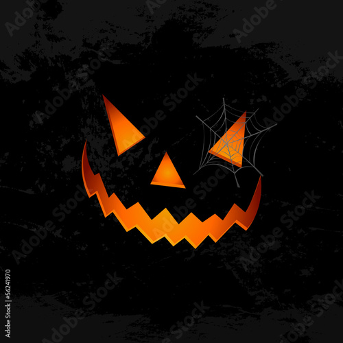 Happy Halloween pumpkin face spider web illustration EPS10 file