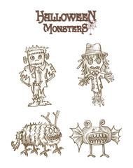 Halloween Monsters spooky characters set EPS10 file.