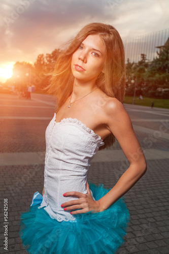 long haired blonde outdoor weared tutu skirt costume