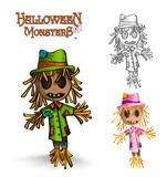Halloween monster spooky scarecrows illustration EPS10 file.