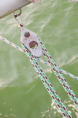 closeup of rope on sailing boat