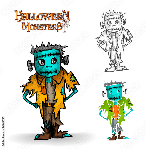 Halloween monster spooky zombie illustration EPS10 file