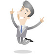 Businessman, gray hair, jumping, celebrating, happy
