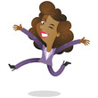 Businesswoman, jumping, celebrating, happy