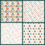 4 Seamless Pattern Christmas Retro