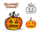 Halloween Monsters spooky pumpkin illustration EPS10 file