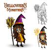 Halloween monsters spooky witch illustration EPS10 file