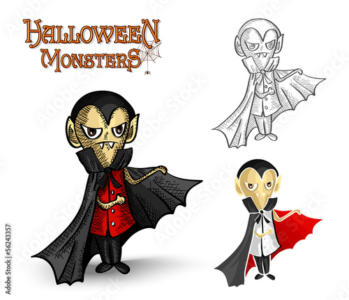 Halloween monsters spooky vampire illustration EPS10 file