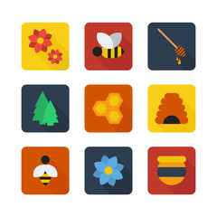 Honey flat design vector icons