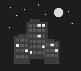 houses or prefabs in the night