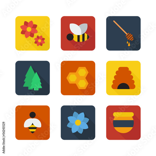 Honey flat design vector icons