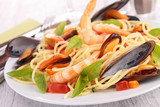 spaghetti with mussel and shrimp