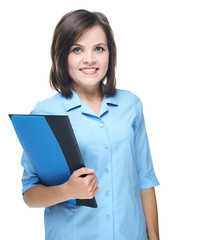 Attractive young woman in a blue blouse. Holds a folder.
