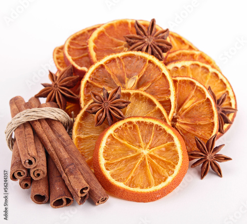 dried orange sliced with cinnamon and star anise