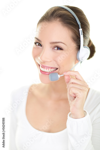 Call center headset woman customer service representative
