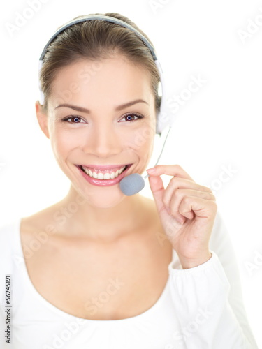 Headset woman smiling call center customer service